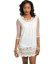 NEW IVORY LACE EMBROIDERED 3/4 SLEEVE MINI DRESS TUNIC TOP pick S M L