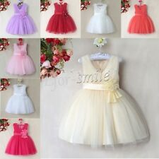 Tulle Flower Girl Princess Belt Dress Toddler Baby Wedding Party Pageant Sz 1-10
