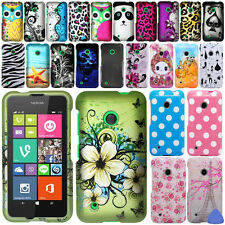 Hard Protector Rubberized Case Cover For Nokia Lumia 530 Phone, Cat/ Owl + Tool