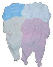 Baby Boy and Girl Velour Sleepsuit baby grow Four Colours Newborn 0-3M 3-6M