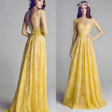 Yellow Lace Long Sleeves Pageant Evening Prom Bridal Party Gown Wedding Dress