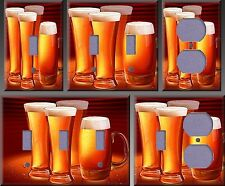 Four Glassed Of Beer Art Wall Decor Light Switch Plate Cover