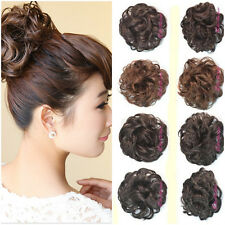 New Womens Clip In Curly Wave Synthetic Hairpiece Dish Hair Buns Hair Extension