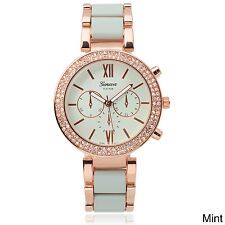 Geneva Platinum Women's Rhinestone Accent Color-Pop Metal Link Watch