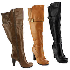 BLOSSOM DOVE-4W Women's Wide Calf Buckle Strap Side Zipper Knee High Boots