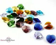 10 x PENDANT HEART FACETED CUT GLASS CRYSTAL BEADS 10mm  COLOUR CHOICE