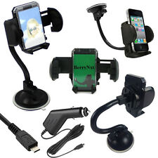 360 Car Long Holder Windscreen Mount+2M Charger For Samsung Sony Motorola Nokia