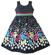 Girls Dress Navy Blue Butterfly Party Princess Child Clothes Size 4-12