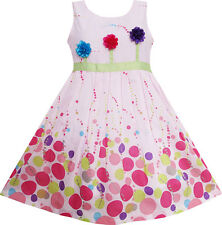 Girls Dress Colorful Dot 3 Flower Green Belt Party Birthday Children Size 4-12