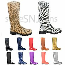 New Women Quilted Mid Calf Rubber Rain Boots Waterproof Jelly Shoes Multi Colors