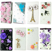 Bling diamond flowers Flip wallet PU leather case cover for Apple iphone phone