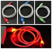 LED Light Visible Android Micro USB Data Sync Charging Cable for Samsung Sony