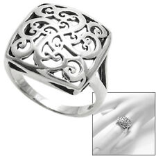 925 Sterling Silver Domed Intricate Swirl Design Square Band Ring Size 5-9
