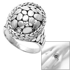 925 Sterling Silver Oval Cobblestone with Rope Border Design Ring Size 5-10