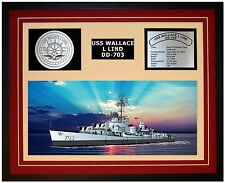 USS Wallace L Lind DD 703 Framed Navy Ship Display