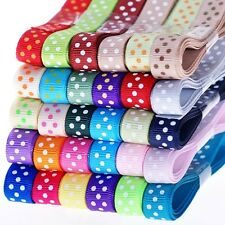 "5YDS 3/8"" mixed colors dotty spot grosgrain ribbon DIY decorating free shipping"