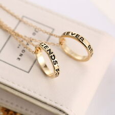 Silver & Gold BFF Best Friends Forever 2 Part Love Rings Eternity Necklaces Gift