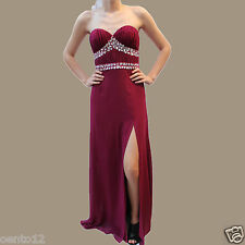 Lipsy VIP Burgundy Red Carpet Pleated Embellished Bandeau Cocktail Maxi Dress