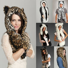 Hot New Warm Winter Animal Fur Hat Fluffy Plush Cap Hood Scarf Shawl Glove Dint