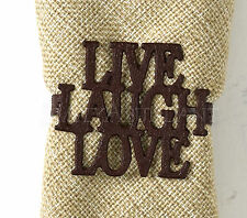 Live Laugh Love Napkin Rings by Park Designs, Deep Red Iron, Your Choice of Sets