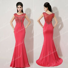 Real Tight Beaded Lace Wedding Party Prom Red Dresses Mermaid Ball Cocktail Gown