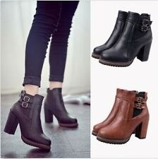 Women Thick High Heel Double Buckle Elastic Bootie Zipper Martin Ankle Boots