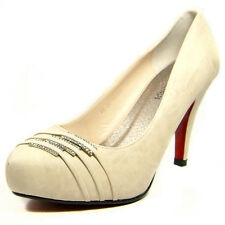 Ladies Womens High Heels Court Shoes Party Club Evening Wedding 2011-16 Beige