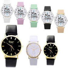 Womens Lady Fashion Geneva Roman Leather Band Analog Quartz Wrist Watch