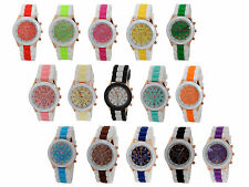 Unisex GENEVA Watch Silicone Rubber Jelly Gel Quartz Analog Sports Women Wrist