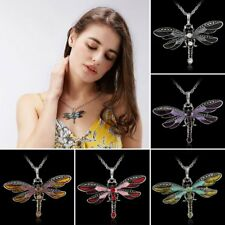 Retro Enamel Dragonfly Pendant Long Sweater Chain Rhinestone Statement Necklace
