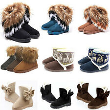 Fashion Women Winter Warm Ankle Snow Boots Fur Suede Midcalf Bowknot Flat Shoes
