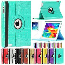 For Apple iPad 4 3 2 360 Rotating Crocodile Skin PU Leather Case Smart Cover