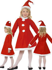 Little Miss Santa Girl Christmas Kids Fancy Dress Child Costume Outfit 4-12 Year