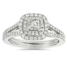 1.00 Carat Princess Cut Diamond Double Halo Engagement Ring 14K White Gold