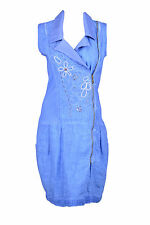 Angels Never Die Womens Denim Blue Beaded Zip Up Sleeveless Dress $225 New