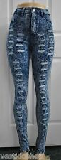 High rise mineral acid stone wash destroyed distressed rips ripped jeans P9403