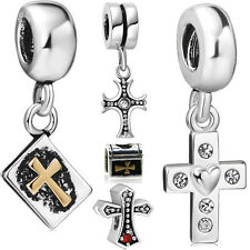Pendant floating Cross charms Bead Fit lot 925 Sterling Silver Bracelet Bangle