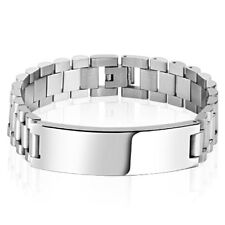 """Stainless Steel 16mm Men's 8.25"""" Personalized Link ID Bracelet (Free Engraving)"""