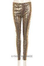 TRUE GOLD SEQUIN LEGGINGS Pants Metallic Stretch NEW Long Womens Sexy S M L