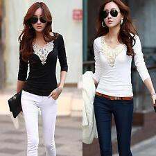 Womens Slim Lace Long Sleeve Shirt Blouse Vintage Basic Tops Black/White XS-L