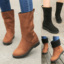 Womens Cuban Low Heels Solid Knitted Inside Pull On Suede Winter Mid Calf Boots