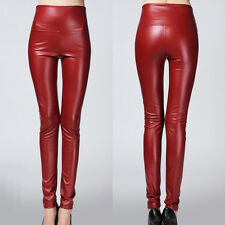 Sexy Women's Shiny Stretch High Waist Skinny Velvet Tight PU Leggings Pants Wine