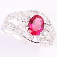 Size 6~9 Jewelry Woman's 2.2CT Red Ruby 10KT White Gold Filled Ring