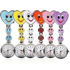 Cute Nurses Watch Heart Shape Smiley Face Stainless Steel Fun Fob Brooch Watches