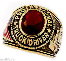 Mens Professional Truck Driver Red Stone 18kt Gold Plated Ring