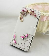 Bling Dragonfly Wallet Card Holder Leather Phone Flip Case Cover For Sony
