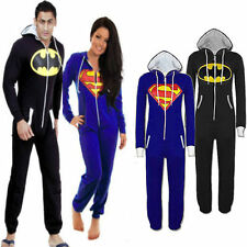 Mens Womens Unisex Batman Superman Costume Hooded Zip Jumpsuit Onesie Playsuit