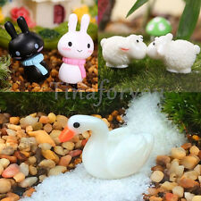 2pcs Micro Miniature Dollhouse White Swan Little Sheep Rabbit Home Bonsai Decor