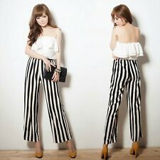 Trendy Tiered Flouncing Backless Womens Striped Jumpsuit Overalls Trousers Pants