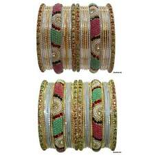 Set of 26 Indian Ethnic Bangles Belly Dance Beads Stones Studded Bracelets
